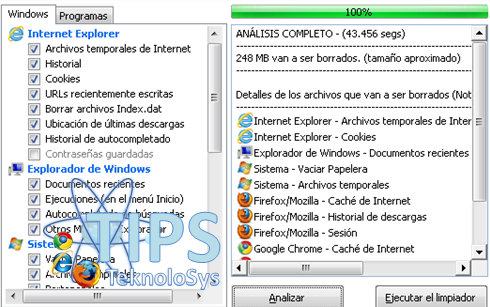 CCleaner Internet Explorer espacio disco