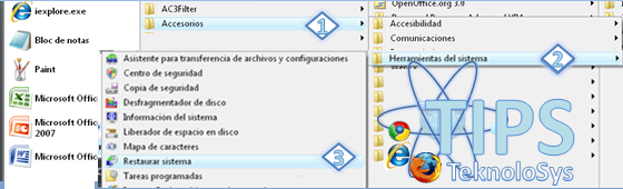 Punto de Restauracion windows menu