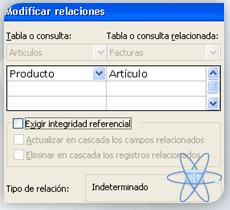Modificar relaciones sin integridad referencial