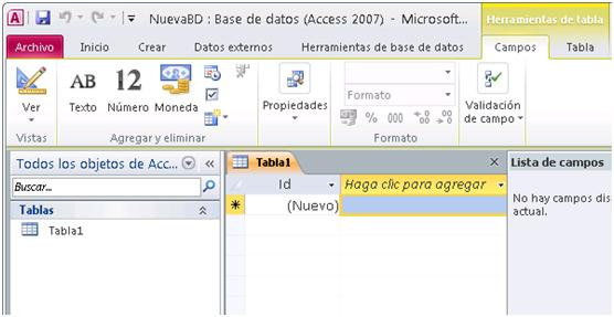 Nueva Tabla access 2010