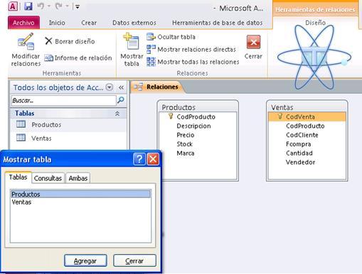 Seleccionar Tablas para relacion access