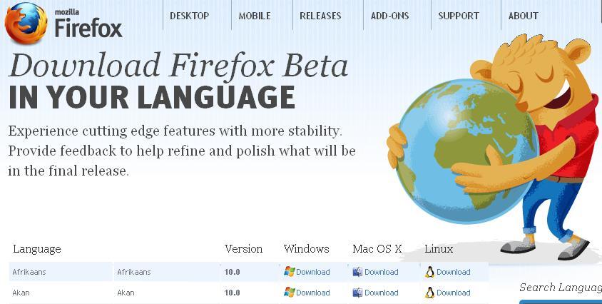 Firefox beta 10