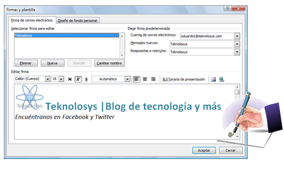 Crea tu firma en Outlook