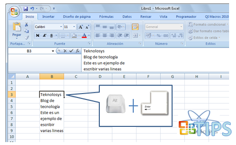 Escribir varias lineas Excel
