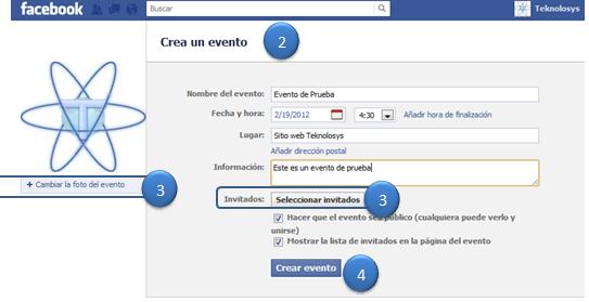 Creando el evento en facebook