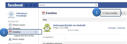 Crear evento Facebook