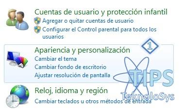 Apariencia y personalizacion Panel de Control