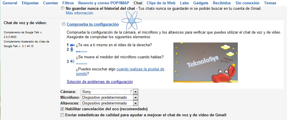 Configura Chat Voz video Google