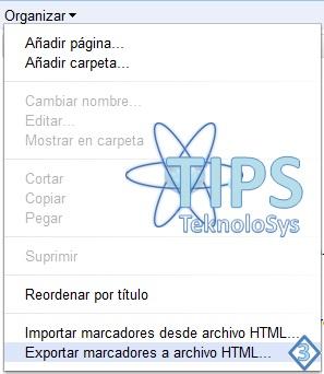 Exportar marcadores Google Chrome