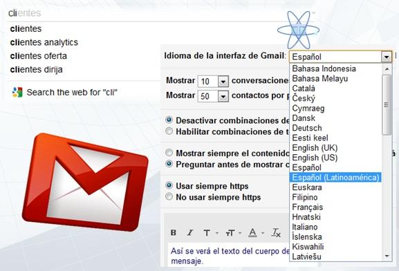 Gmail autocompletado Español Latino