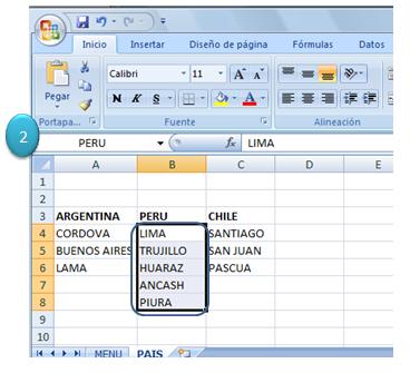 Vincular listas en Excel 2