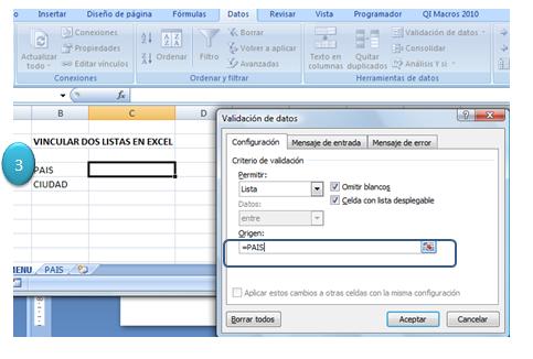 Vincular listas en Excel 3