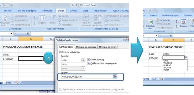 Vincular listas en Excel 4