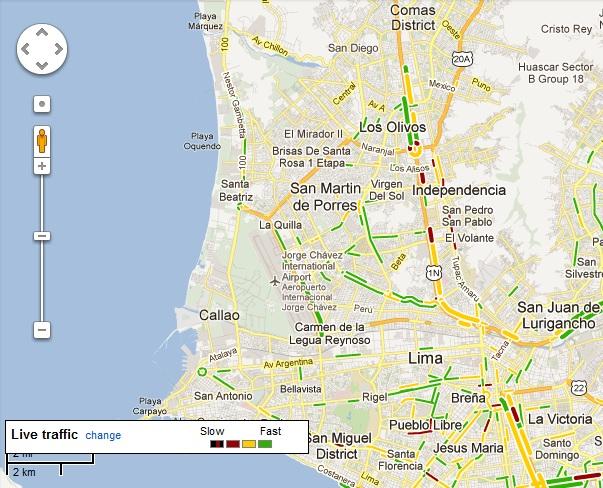 Google Maps da la información del tránsito