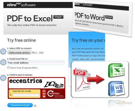 Convierte PDF a Excel Word