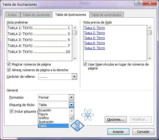 Crear Indice Tabla ecuaciones Word 2