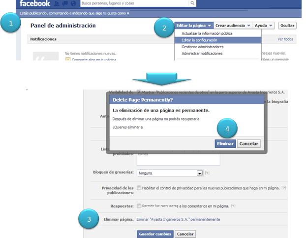 Elimina Pagina facebook
