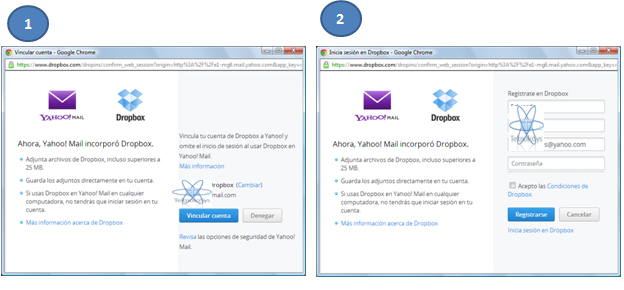 Sincroniza dropbox con yahoo