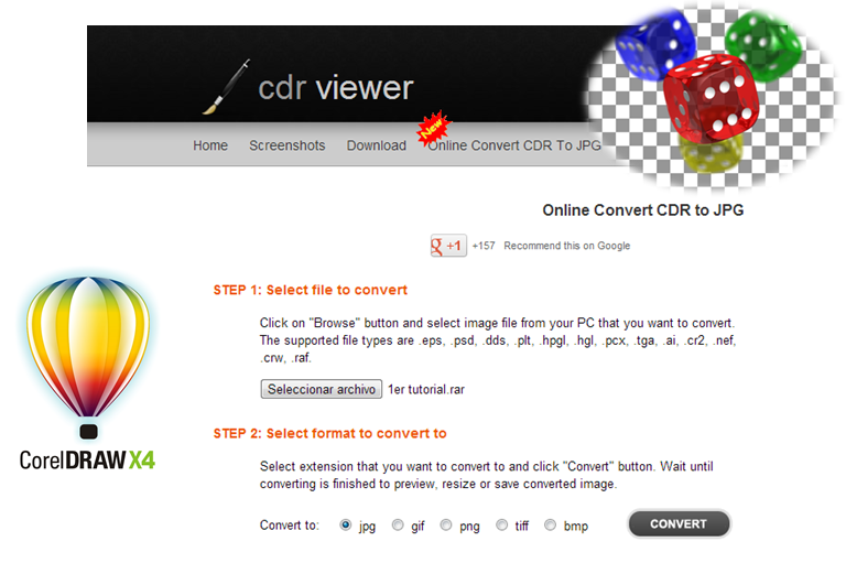 Convierte online cdr png
