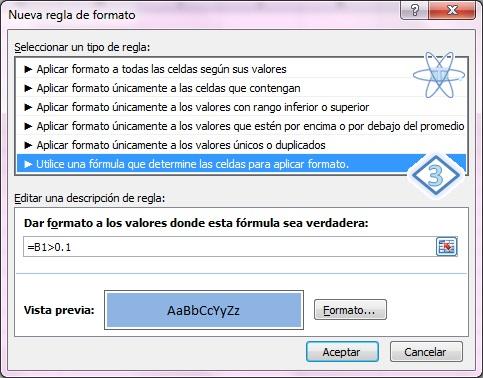 Excel Formato condicional Seleccion regla