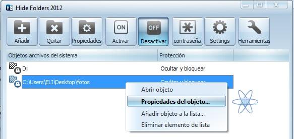 Hide Folders Propiedades