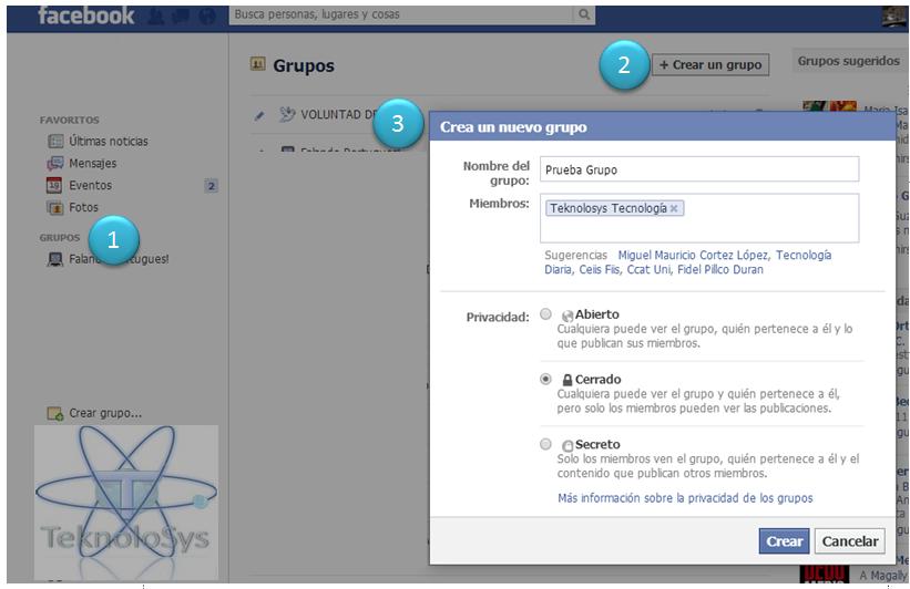 Crea grupo facebook